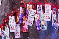 树上挂的祈福的纸条图片
