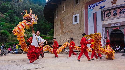 福建南靖土楼的舞龙舞狮图片
