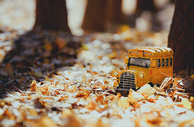 冬季金黄色校车图片