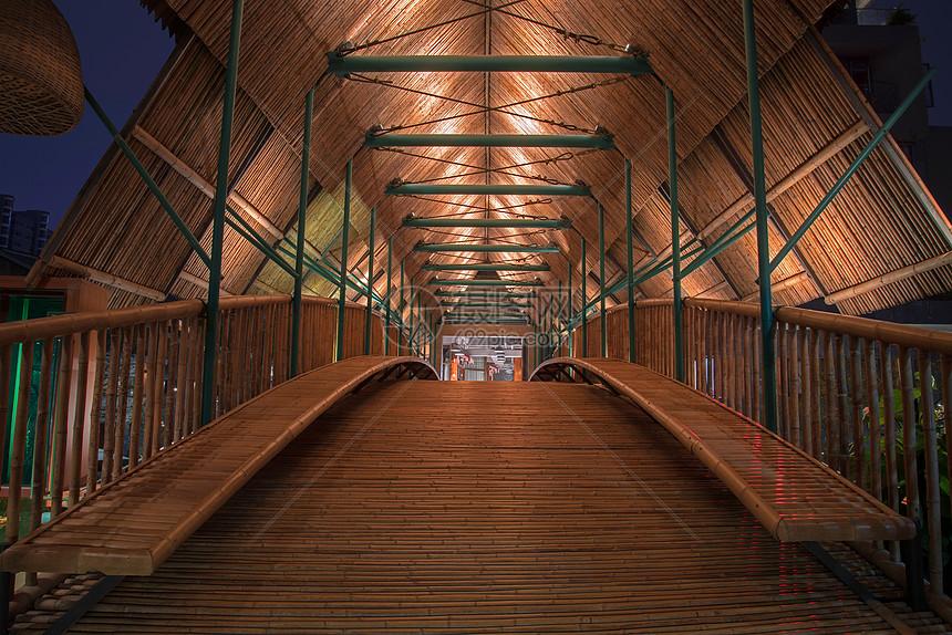 竹桥夜景图片