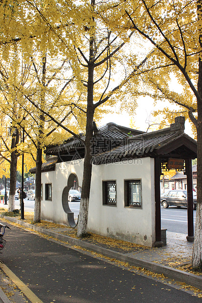 秋日的公交站台图片