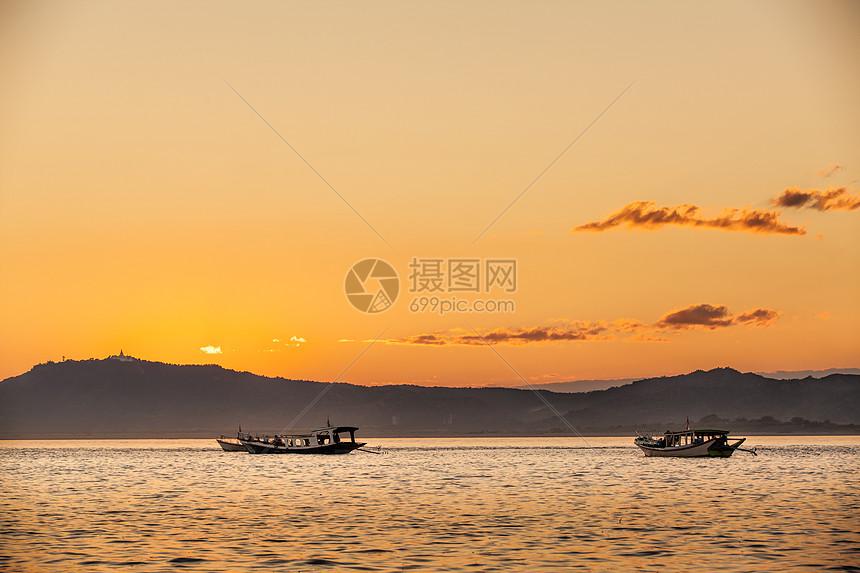 伊洛瓦底江日落图片