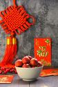 红色中国结山楂静物背景图图片
