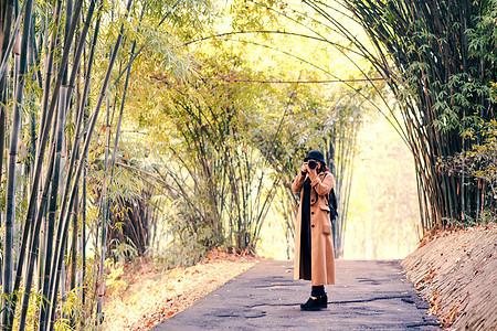 竹林中拍摄风景的人图片