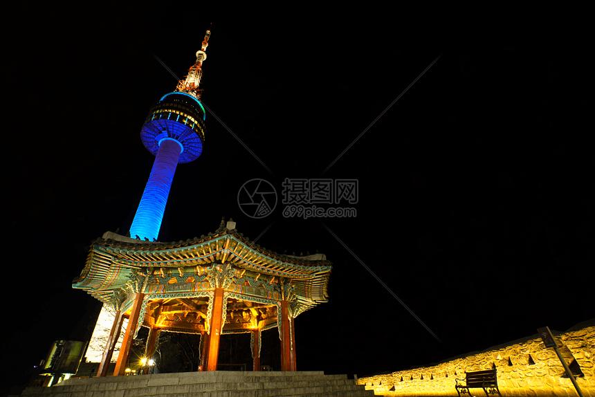 韩国首尔塔夜景图片