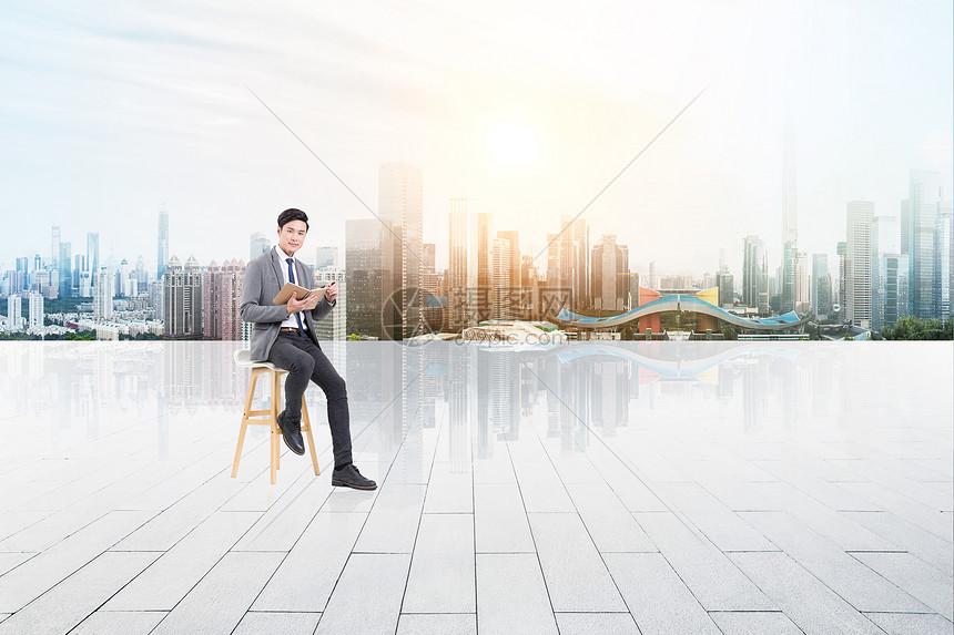 商务男士城市背景图片