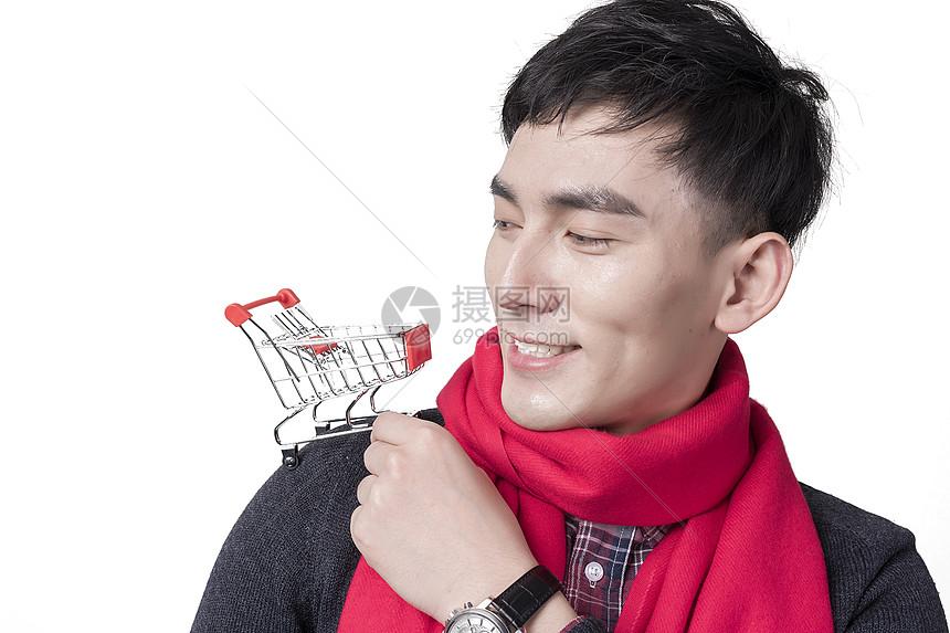 新年喜庆人像与购物车图片