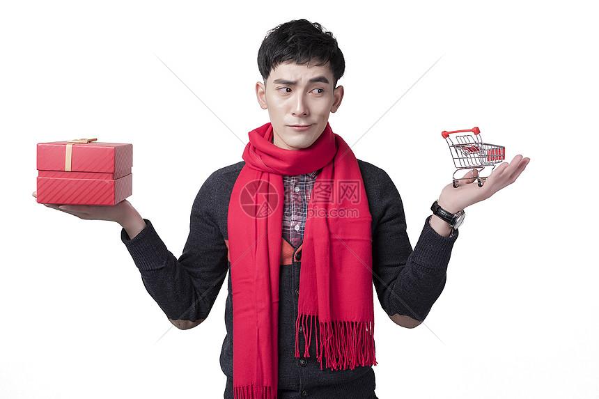 新年喜庆男士人像购物纠结表情图片