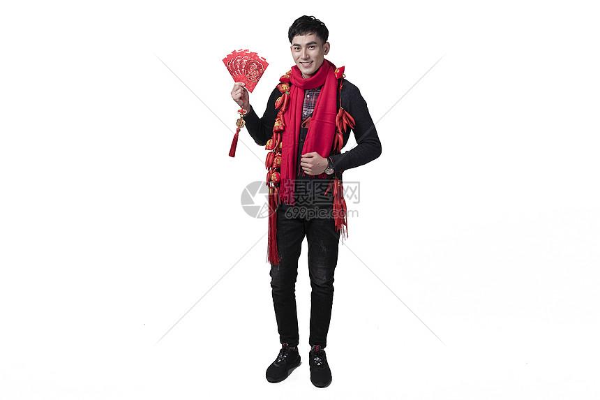 新年喜庆男士人像手持红包图片