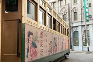 老上海电车特写图片