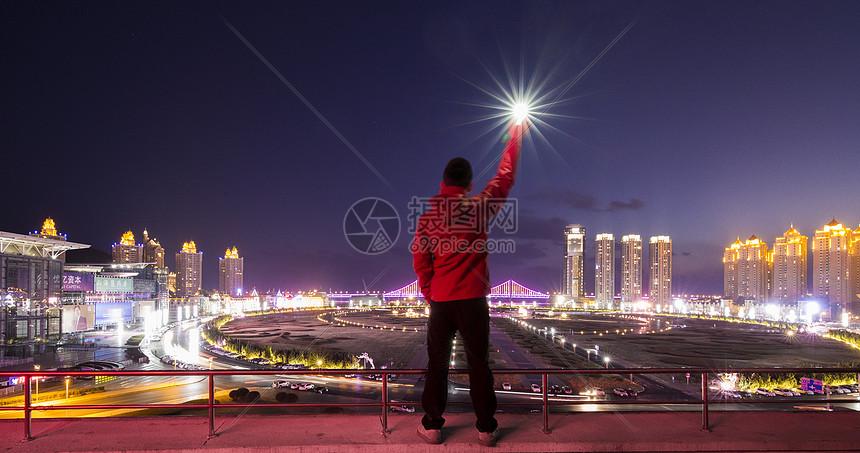 大连现代城市夜景图片