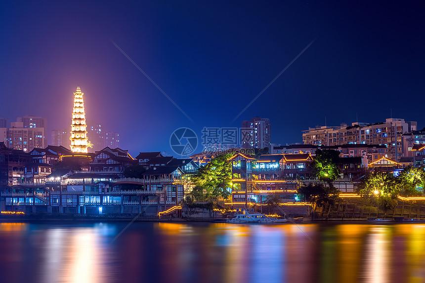 重庆文峰塔夜景图片