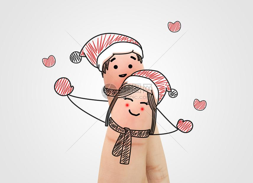 圣诞节手指创意画图片