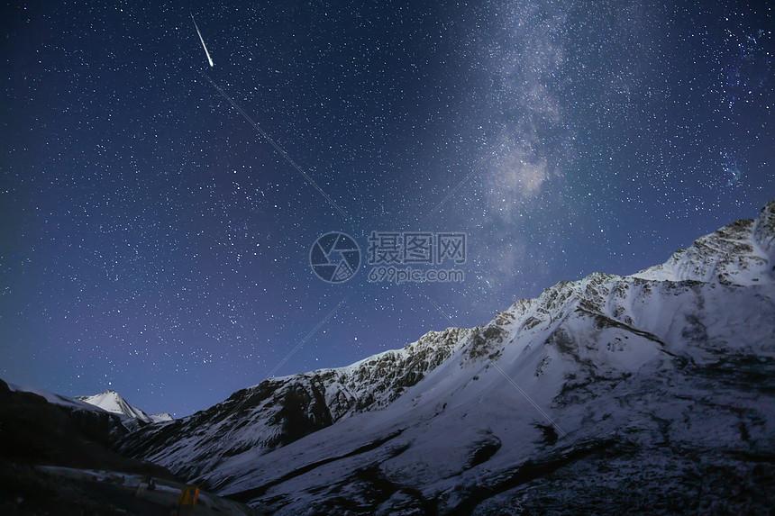 祁连山星空流星图片
