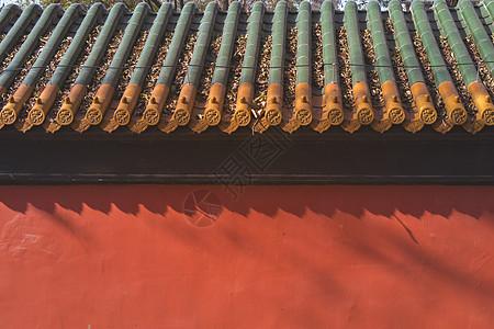传统古建筑红墙琉璃瓦图片