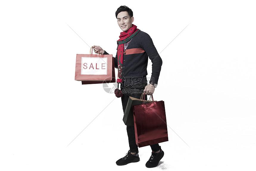圣诞喜庆男士人像购物图片