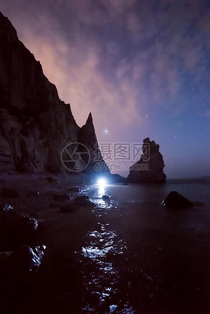 暗夜海岸星空图片