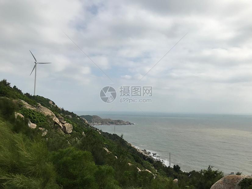 海边的风车图片