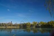 北京初冬的湖边图片