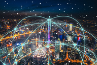 城市夜景科技线条背景图片