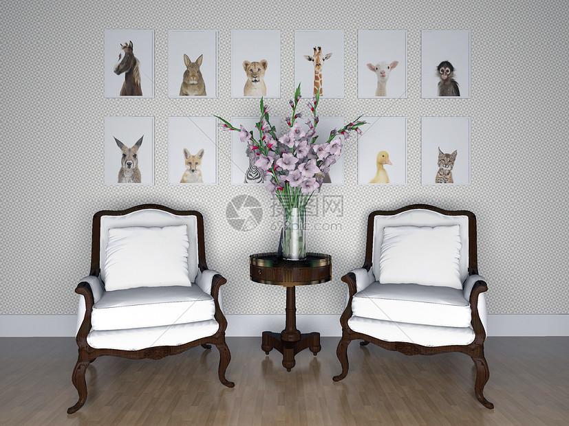 单椅沙发组合效果图图片