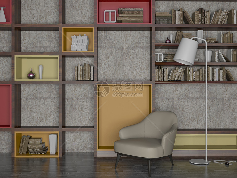 家居休闲阅读区域效果图图片