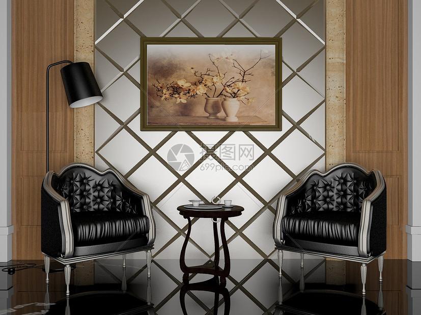 美式单椅组合效果图图片