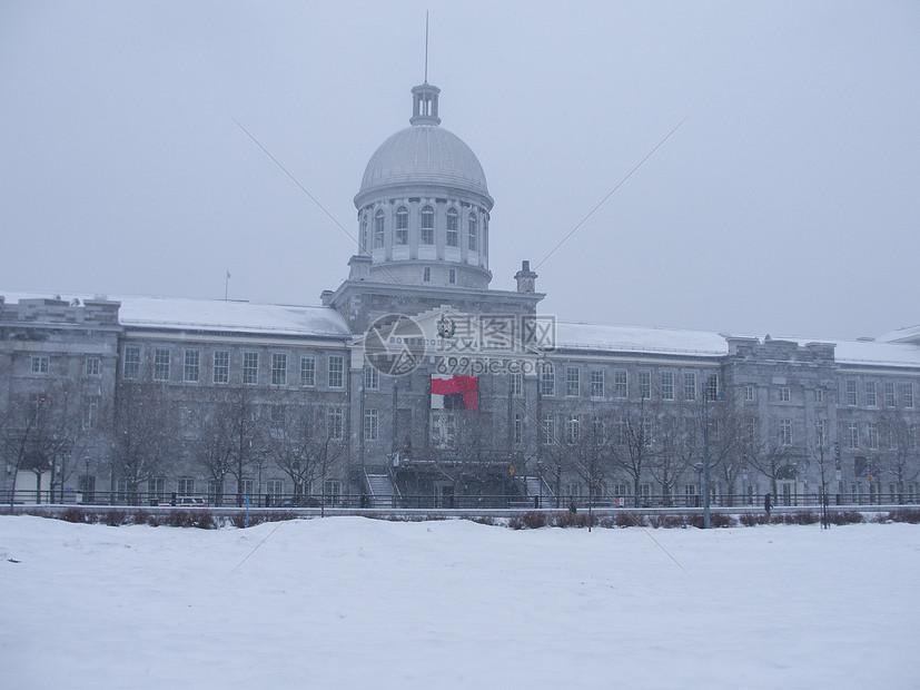 冬季暴风雪中的蒙特利尔一景图片