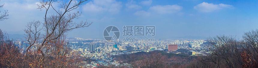 冬日的首尔城市全景图片