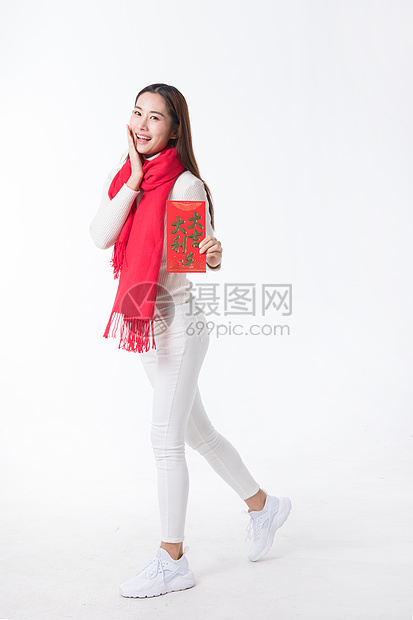新年女性手拿红包图片