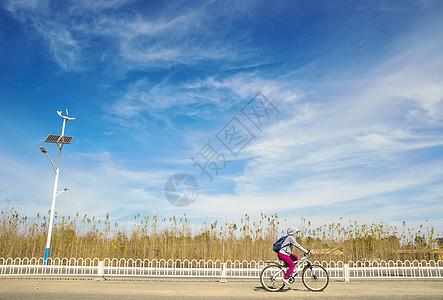 在公路上骑车的女孩图片