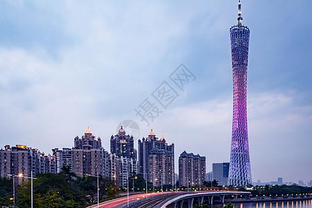 日落的广州塔图片