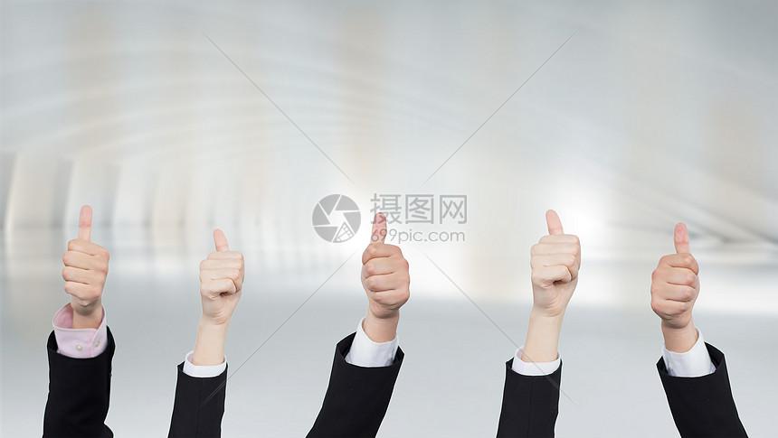 赞赏大拇指场景背景图片