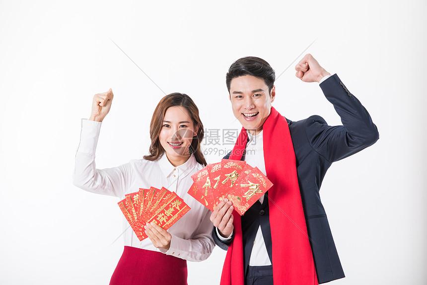 商务人士和新年红包图片