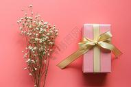 粉色背景情人节礼物图片