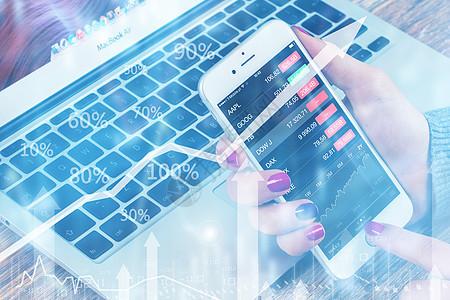 数字屏幕上的股市业务图图片