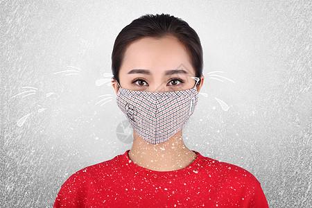 冬天感冒的女人图片