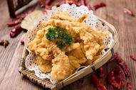 油炸黄金酥肉图片