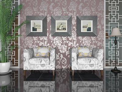 单椅组合家居一角效果图图片
