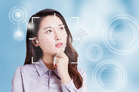面部识别软件的女性脸图片