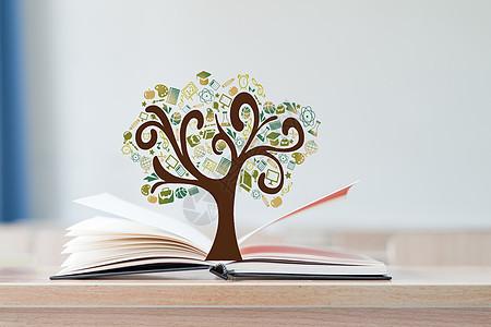 书本中的教育树图片