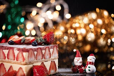 圣诞草莓蛋糕图片