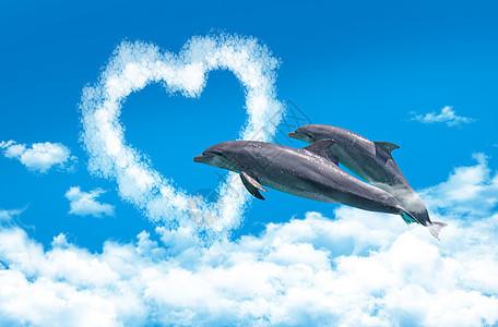 云海中飞跃心之门的海豚图片