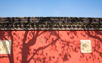 中国风石雕红墙图片