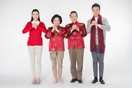 全家人春节拜年图片