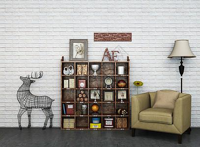 创意单椅边柜落地灯组合图片