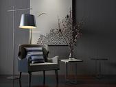单椅落地灯组合效果图图片