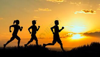 夕阳下跑步健身图片