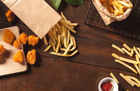 炸鸡与薯条图片