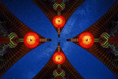 喜庆古建筑红灯笼图片